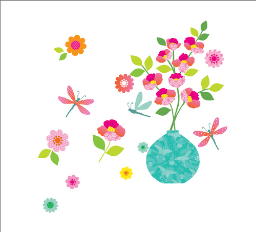 Vector Cartoon Flower Wall Sticker Pattern Vase Free Download