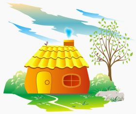 Vector cartoon little house illustration