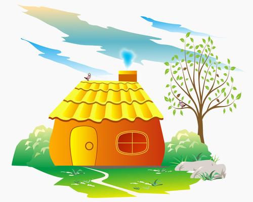 Vector cartoon little house illustration