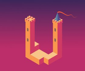 Vector cartoon monument valley
