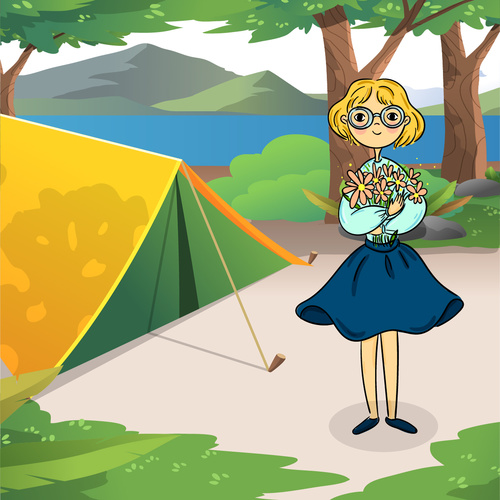 Vector cartoon wilderness vacation picking flowers back to camp girl