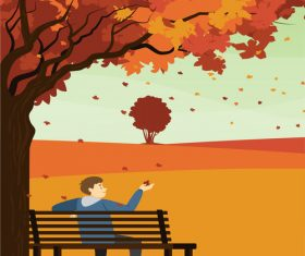 Vector illustration of boy admiring fallen leaves in the park