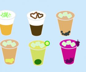 Vector pearl pudding milk tea illustration