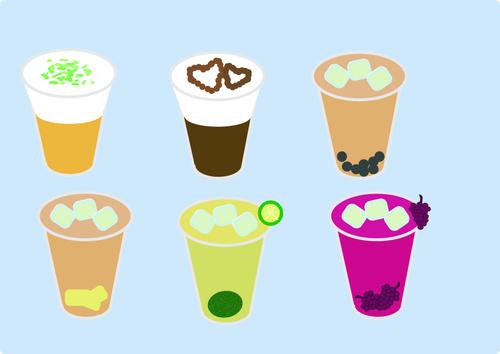 Vector pearl pudding milk tea illustration