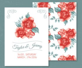 Vector red rose invitation card