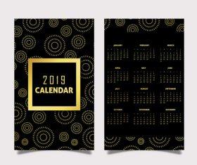 Vertical 2019 calendar template vector set 01