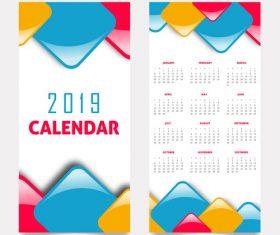 Vertical 2019 calendar template vector set 02