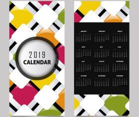 Vertical 2019 calendar template vector set 03