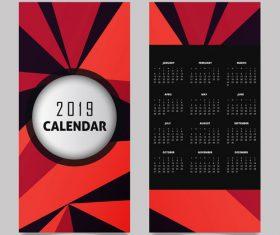 Vertical 2019 calendar template vector set 04