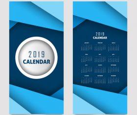 Vertical 2019 calendar template vector set 05