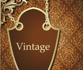 Vintage decor with floral background vector