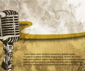 Vintage grunge music background with microphone vector