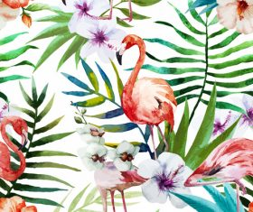 Watercolor painted cinnabar flower and flamingo vector aimaterial
