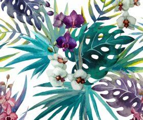 Watercolor painted phalaenopsis vector material