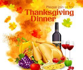 Watercolor thanksgiving festvial background vector