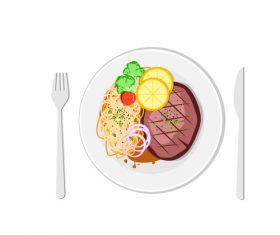 Western steak spaghetti design vector