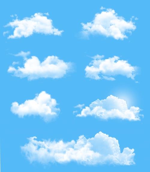 White clouds illustration vectors set 02