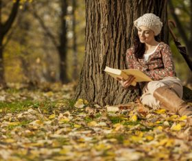 Woman reading a book under the tree in autumn Stock Photo 01