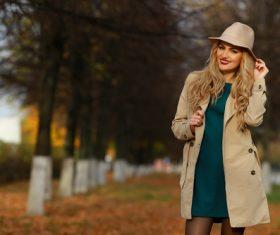 Woman wearing Jacket coat outdoors in autumn Stock Photo