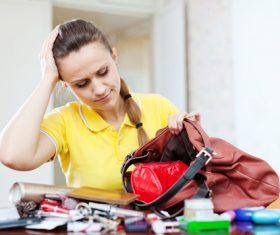 Woman with rummage handbag Stock Photo 03