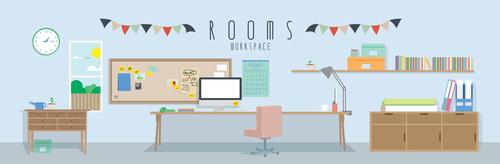 Workspace design vector material