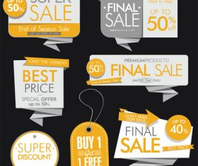 Yellow sale banners and labels vector set