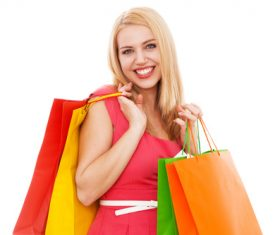 Young beauty holding various color shopping bags Stock Photo 04