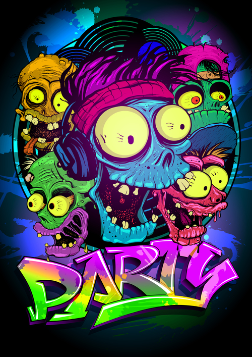 Zombie Faces Party Poster blue vector