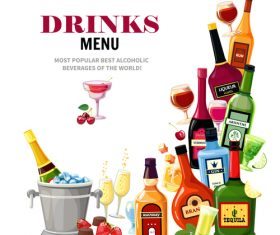alcohol drinks menu cover vector