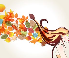 autumn cute girl with leaves vector 01