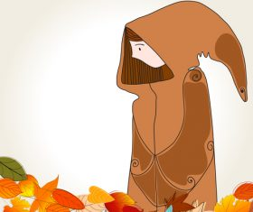 autumn cute girl with leaves vector 02