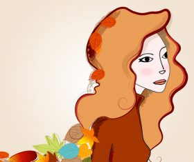 autumn cute girl with leaves vector 03