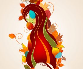 autumn cute girl with leaves vector 04