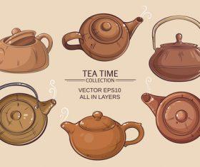 brown teapots set vector