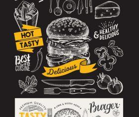 burger food blackboard menu template vector