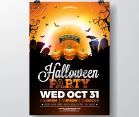 creative halloween party flyer template vector 01