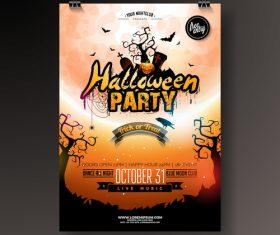 creative halloween party flyer template vector 02