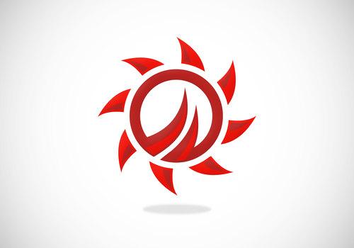 fire abstract sun circular vector logo