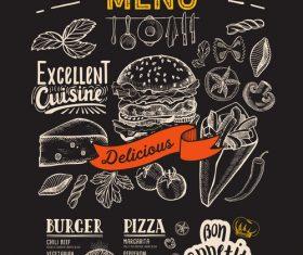 food restaurant blackboard menu template vector 01