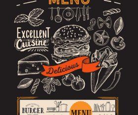 food restaurant blackboard menu template vector 02