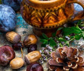 fragrant drink and fruit on wooden desktop Stock Photo 01