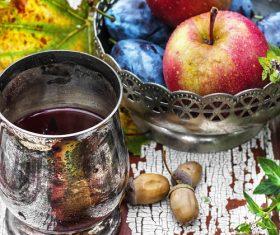 fragrant drink and fruit on wooden desktop Stock Photo 02