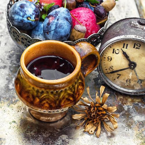 fragrant drink and fruit on wooden desktop Stock Photo 03