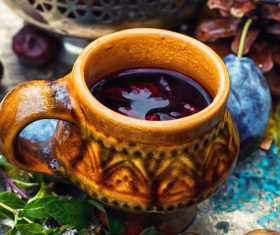fragrant drink and fruit on wooden desktop Stock Photo 04