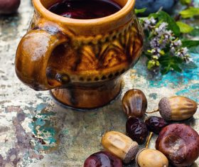 fragrant drink and fruit on wooden desktop Stock Photo 05