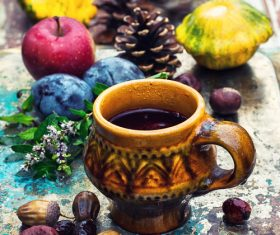 fragrant drink and fruit on wooden desktop Stock Photo 07