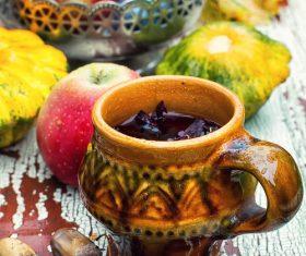 fragrant drink and fruit on wooden desktop Stock Photo 08
