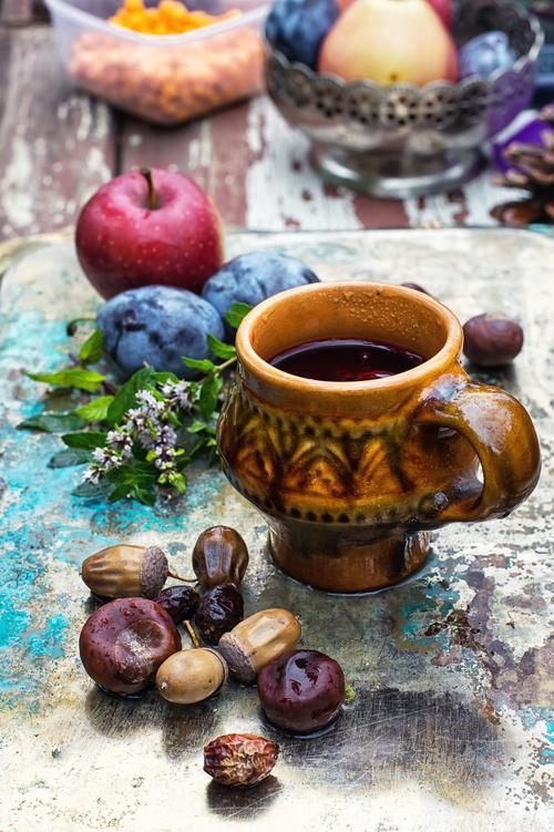 fragrant drink and fruit on wooden desktop Stock Photo 09