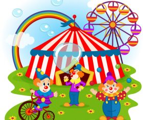 funny clowns and circus vector