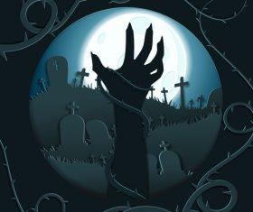 halloween cemetery background design vector